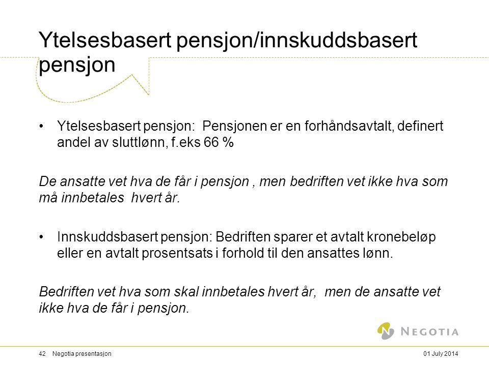 Ytelsesbasert pensjon/innskuddsbasert pensjon