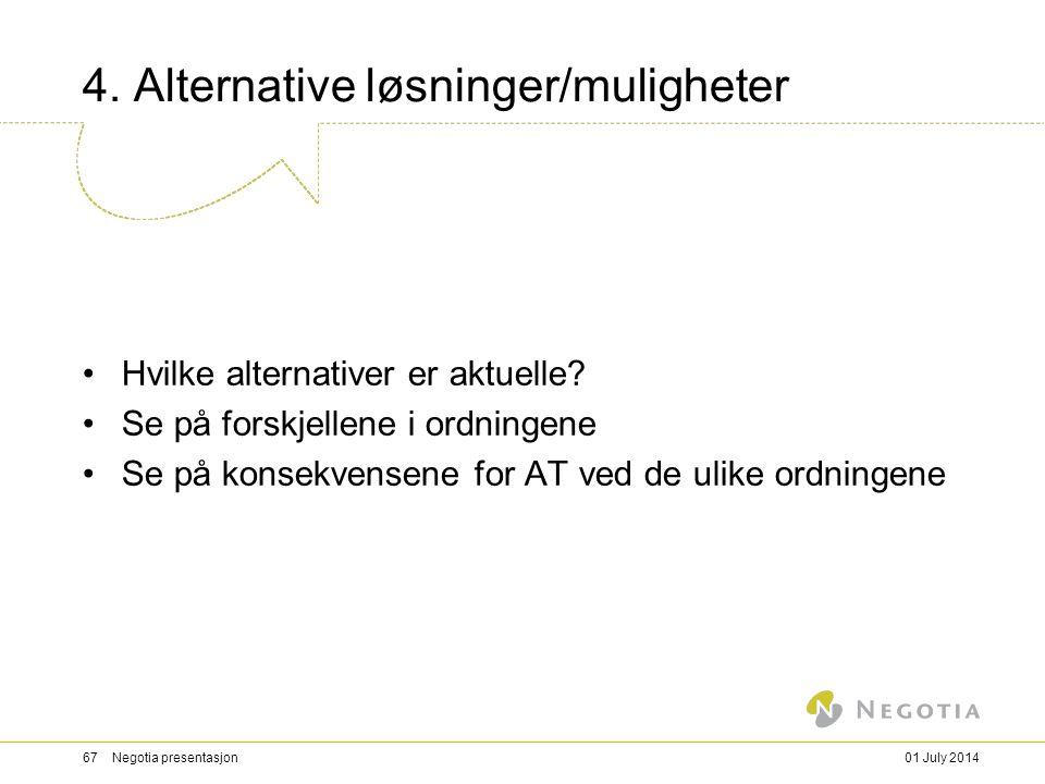 4. Alternative løsninger/muligheter