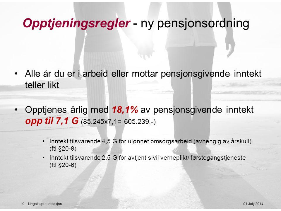 Opptjeningsregler - ny pensjonsordning
