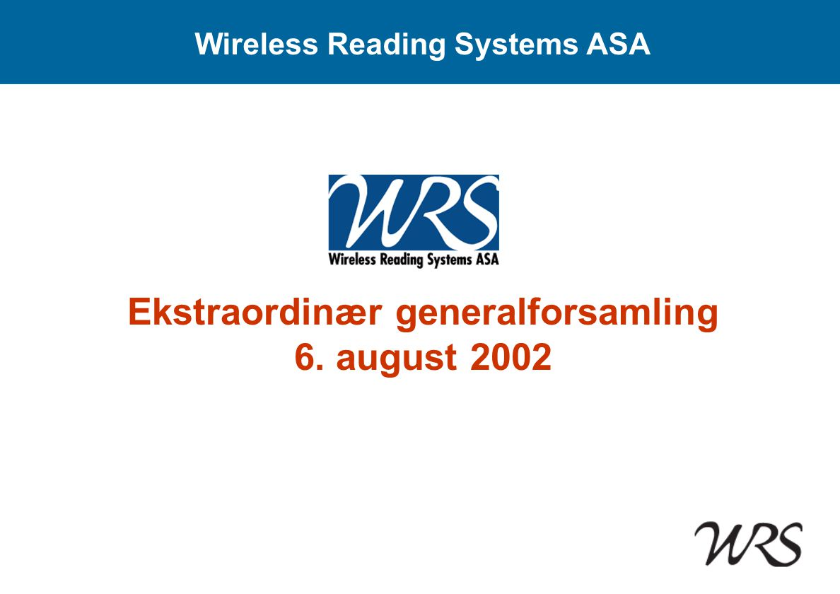 Wireless Reading Systems ASA