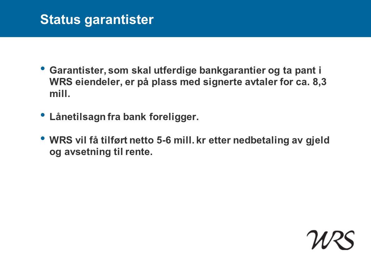 Status garantister Garantister, som skal utferdige bankgarantier og ta pant i WRS eiendeler, er på plass med signerte avtaler for ca. 8,3 mill.