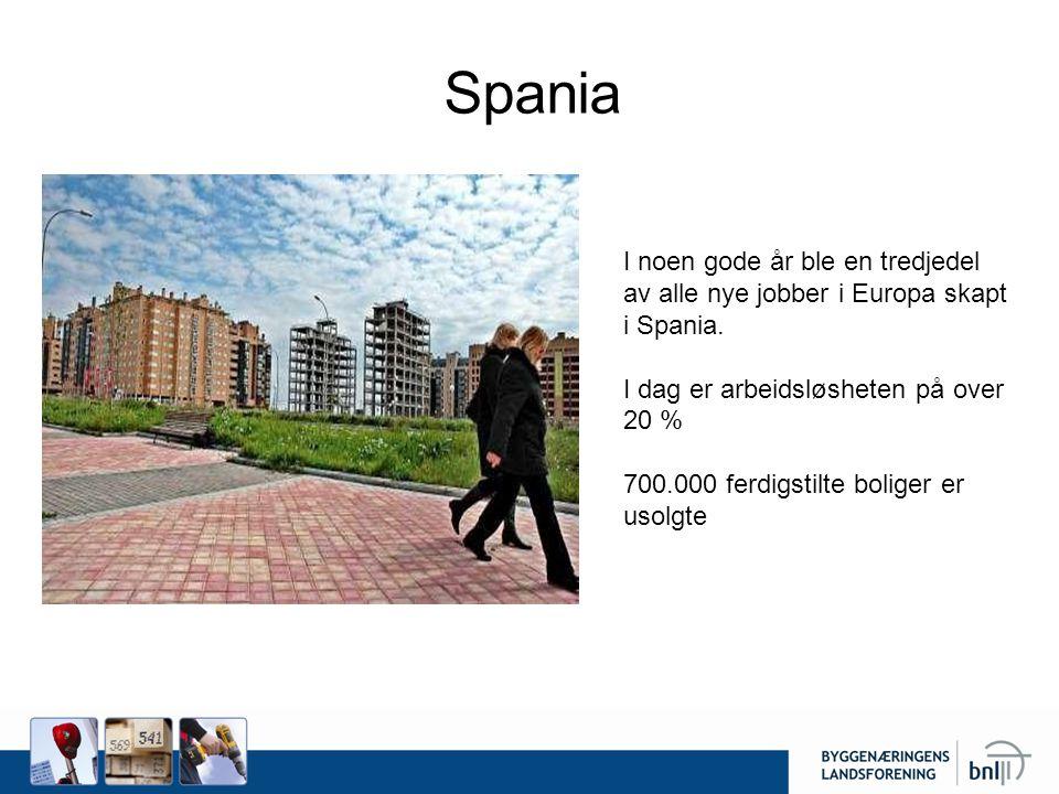 Spania I noen gode år ble en tredjedel av alle nye jobber i Europa skapt i Spania. I dag er arbeidsløsheten på over 20 %