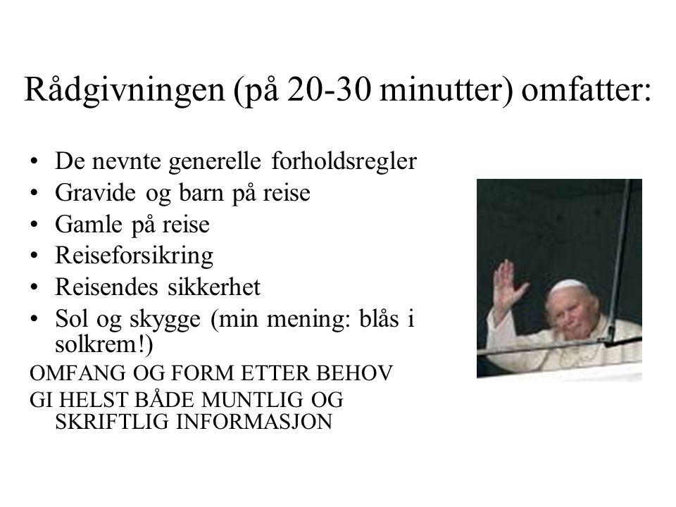 Rådgivningen (på 20-30 minutter) omfatter: