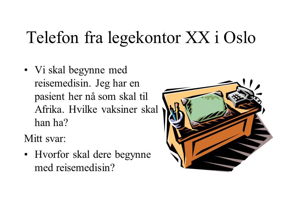 Telefon fra legekontor XX i Oslo