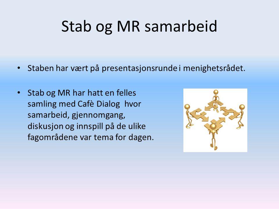 Stab og MR samarbeid Staben har vært på presentasjonsrunde i menighetsrådet.