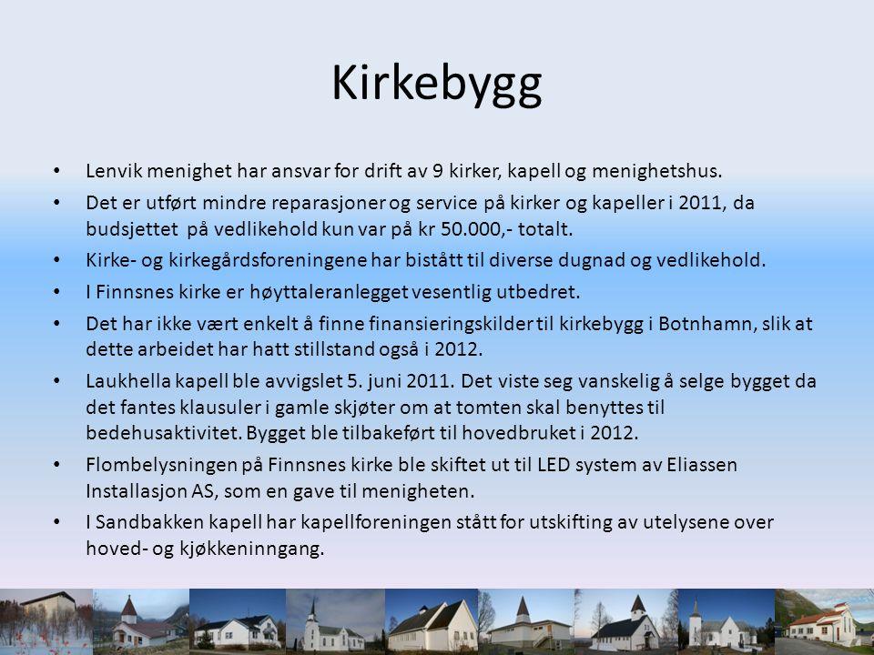 Kirkebygg Lenvik menighet har ansvar for drift av 9 kirker, kapell og menighetshus.