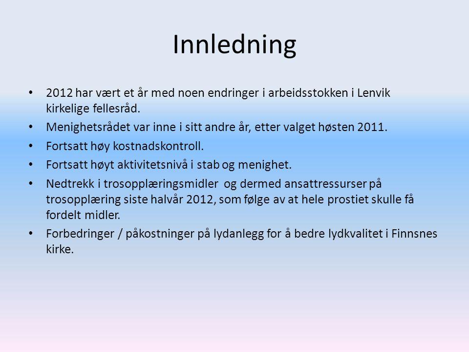 Innledning 2012 har vært et år med noen endringer i arbeidsstokken i Lenvik kirkelige fellesråd.