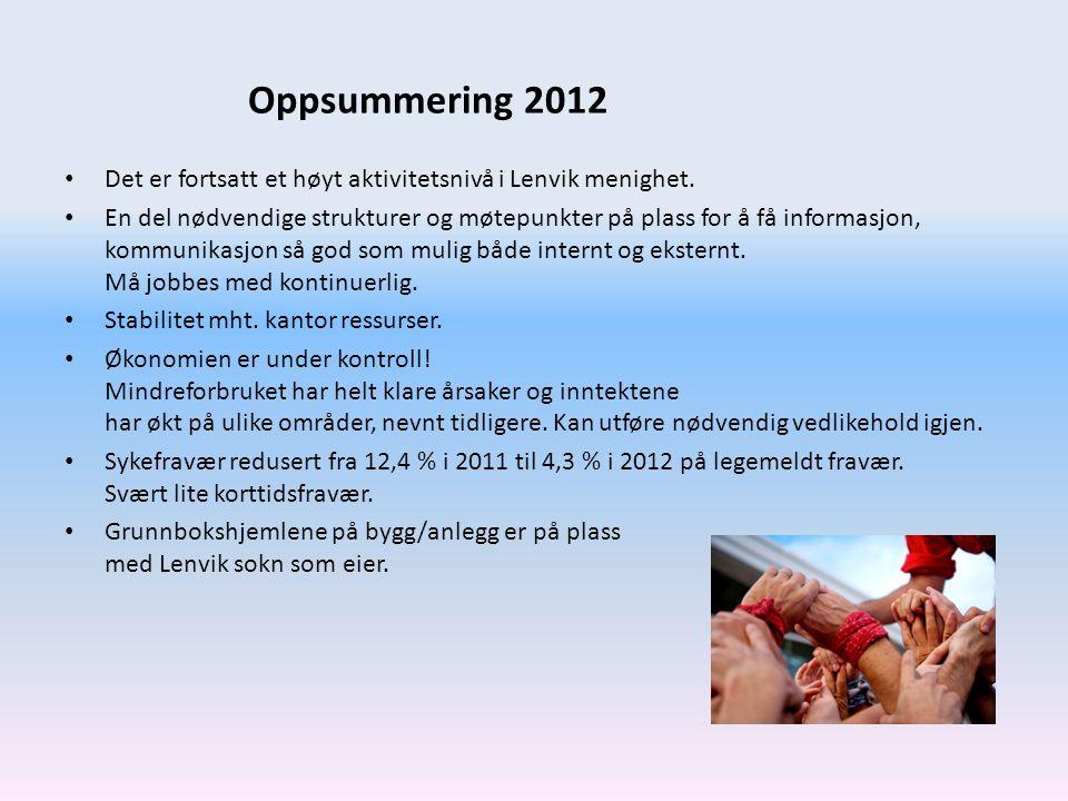 Oppsummering 2012 Det er fortsatt et høyt aktivitetsnivå i Lenvik menighet.
