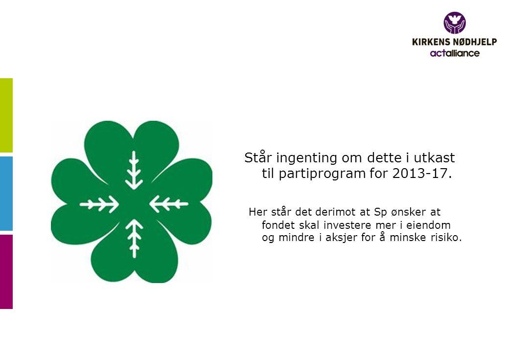 Står ingenting om dette i utkast til partiprogram for 2013-17