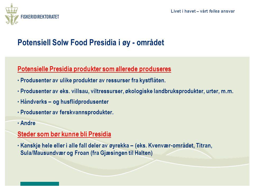 Potensiell Solw Food Presidia i øy - området