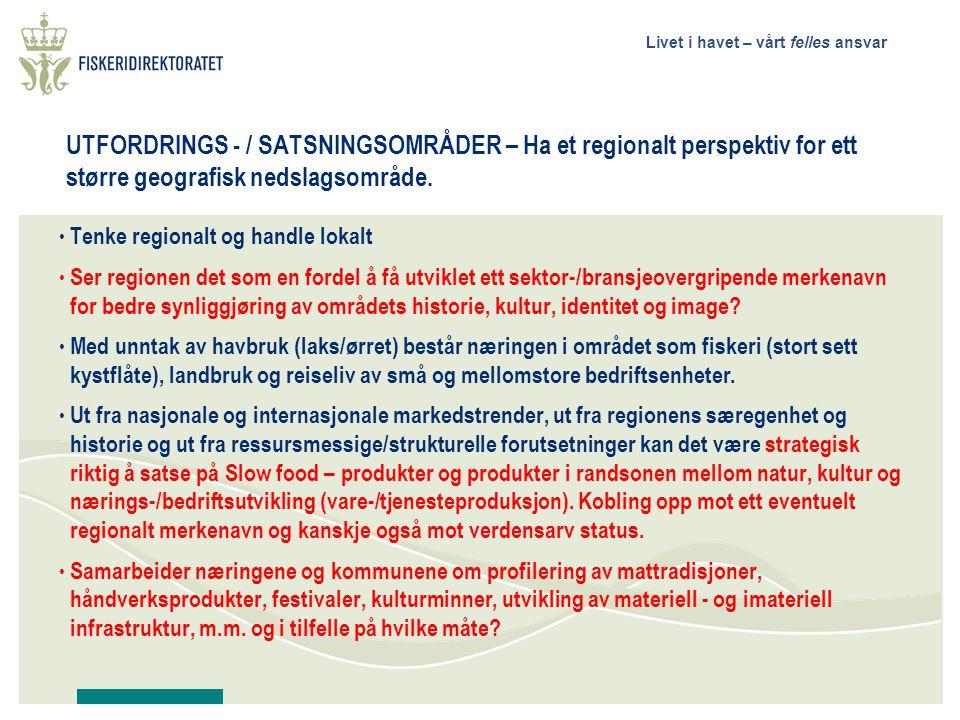 UTFORDRINGS - / SATSNINGSOMRÅDER – Ha et regionalt perspektiv for ett større geografisk nedslagsområde.