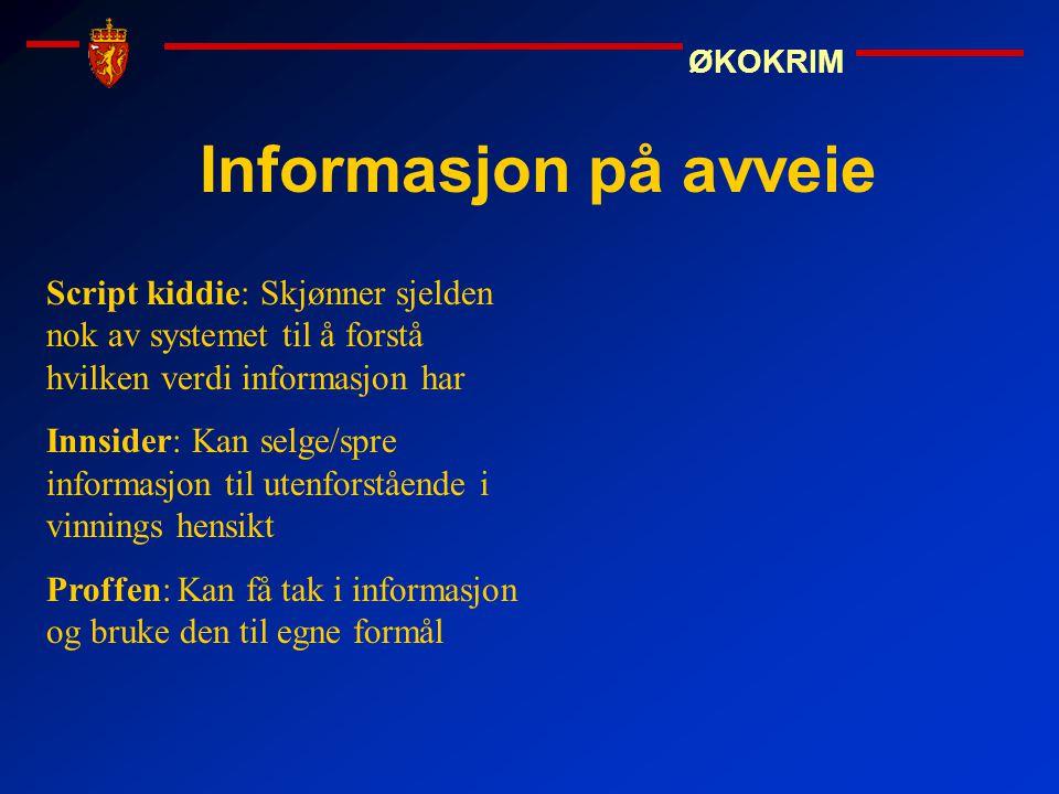 Informasjon på avveie Script kiddie: Skjønner sjelden nok av systemet til å forstå hvilken verdi informasjon har.