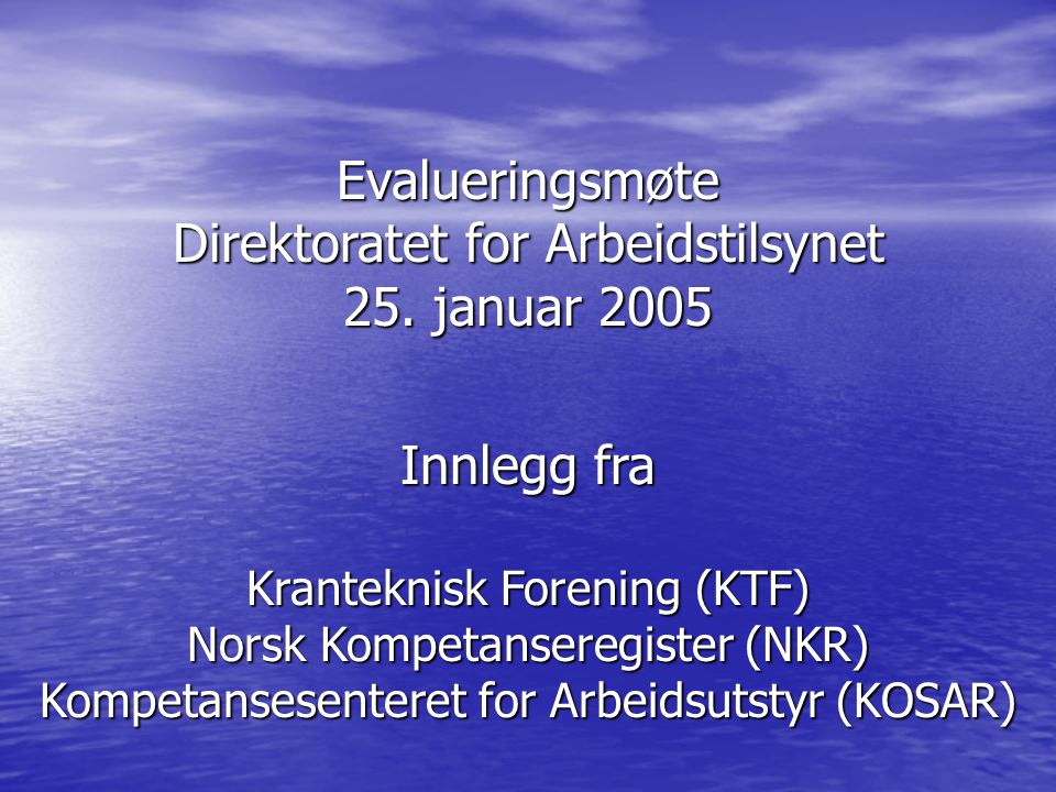 Direktoratet for Arbeidstilsynet 25. januar 2005
