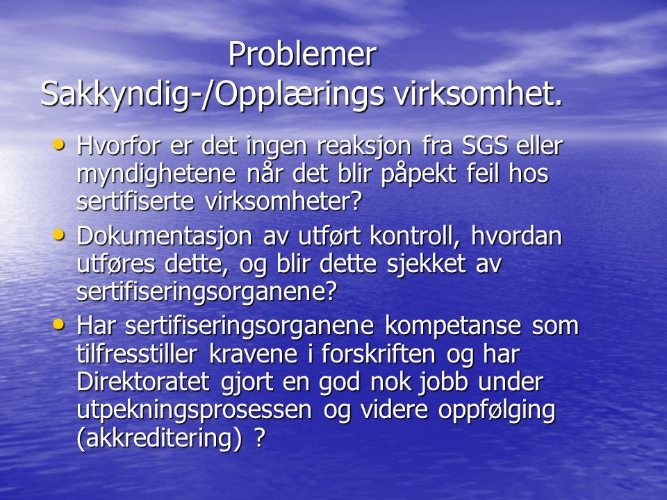 Problemer Sakkyndig-/Opplærings virksomhet.