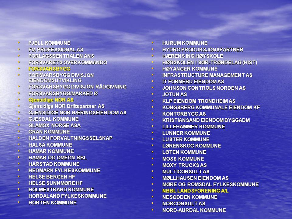 FJELL KOMMUNE FM PROFESSIONAL AS. FORLAGSSENTRALEN ANS. FORSVARETS OVERKOMMANDO. FORSVARSBYGG. FORSVARSBYGG DIVISJON EIENDOMSUTVIKLING.