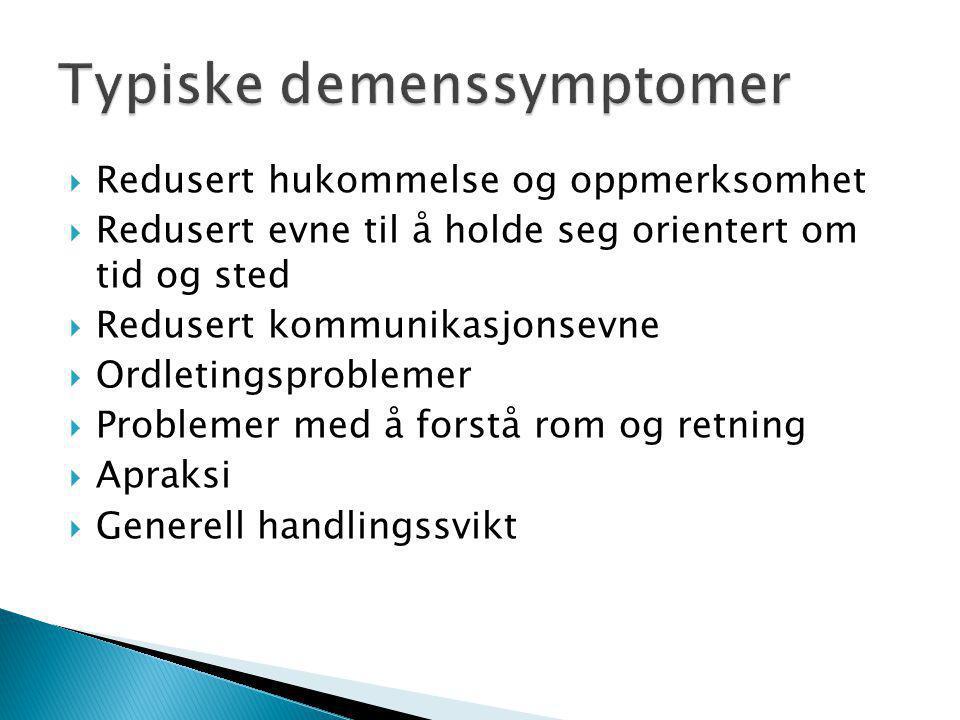 Typiske demenssymptomer