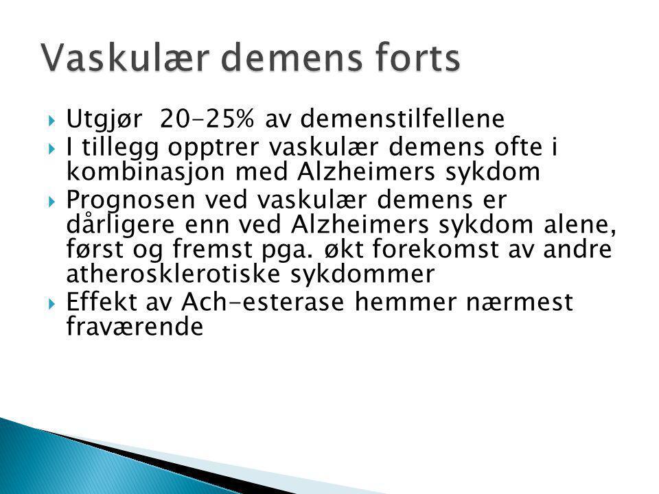 Vaskulær demens forts Utgjør 20-25% av demenstilfellene