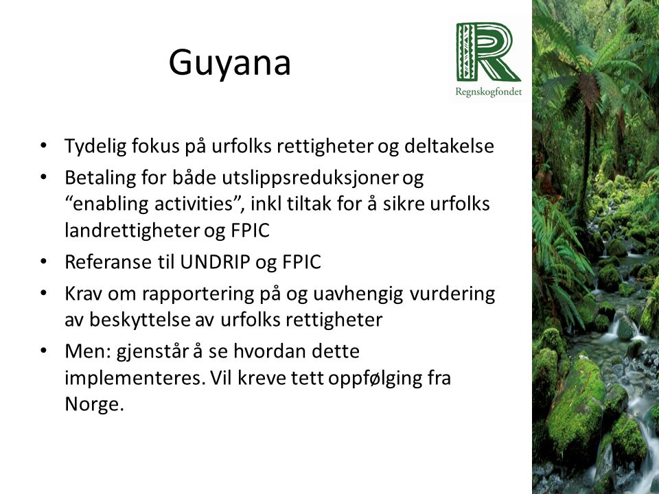 Guyana Tydelig fokus på urfolks rettigheter og deltakelse
