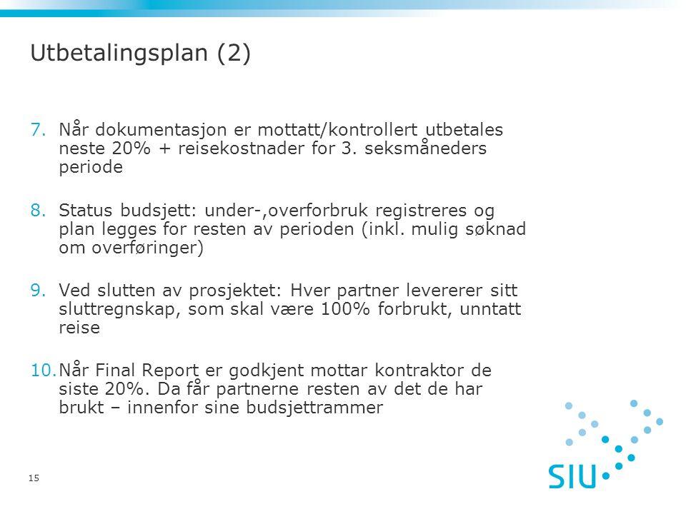 Utbetalingsplan (2) Når dokumentasjon er mottatt/kontrollert utbetales neste 20% + reisekostnader for 3. seksmåneders periode.