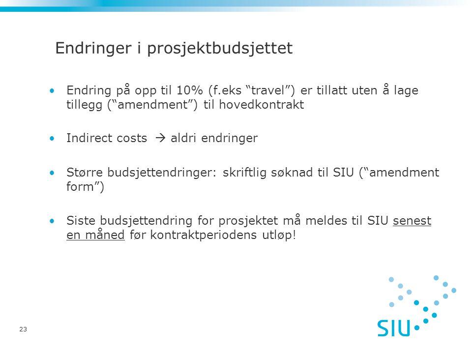 Endringer i prosjektbudsjettet