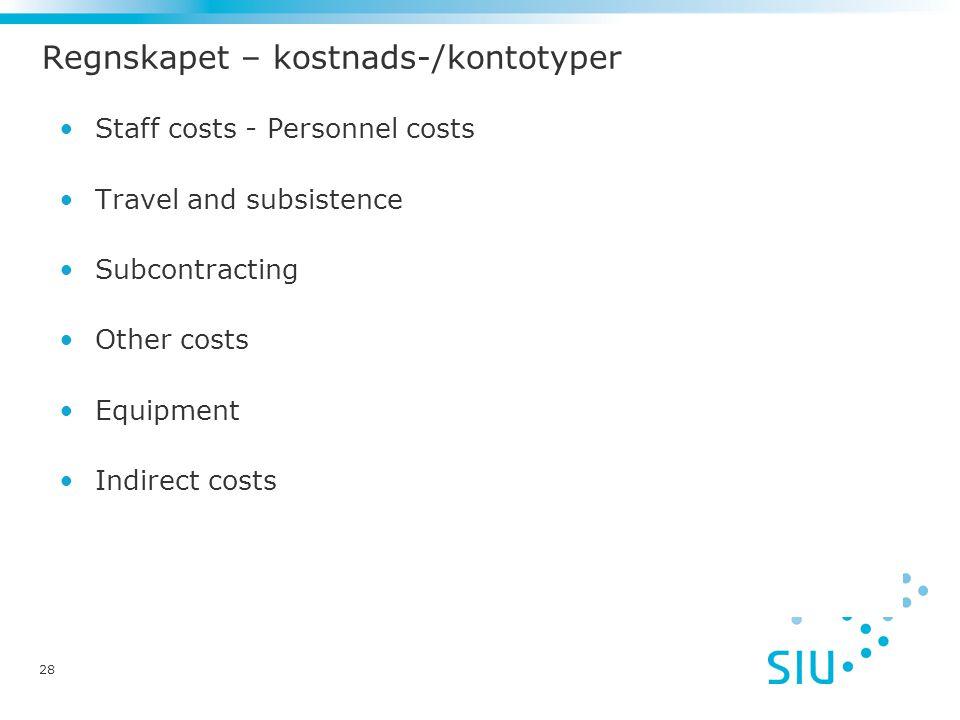 Regnskapet – kostnads-/kontotyper