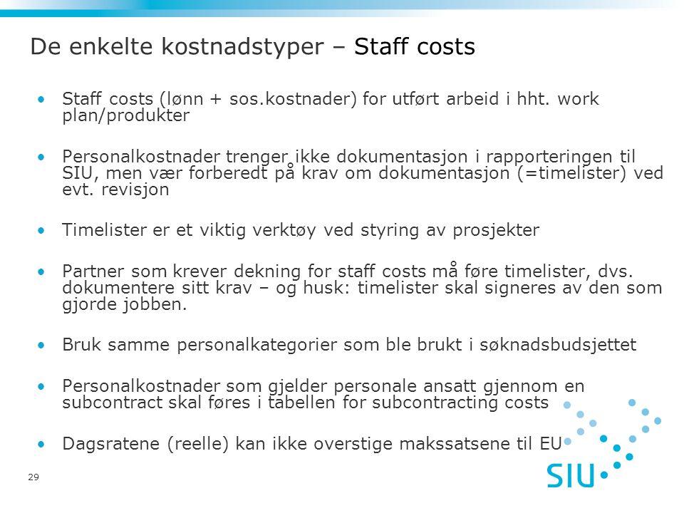 De enkelte kostnadstyper – Staff costs