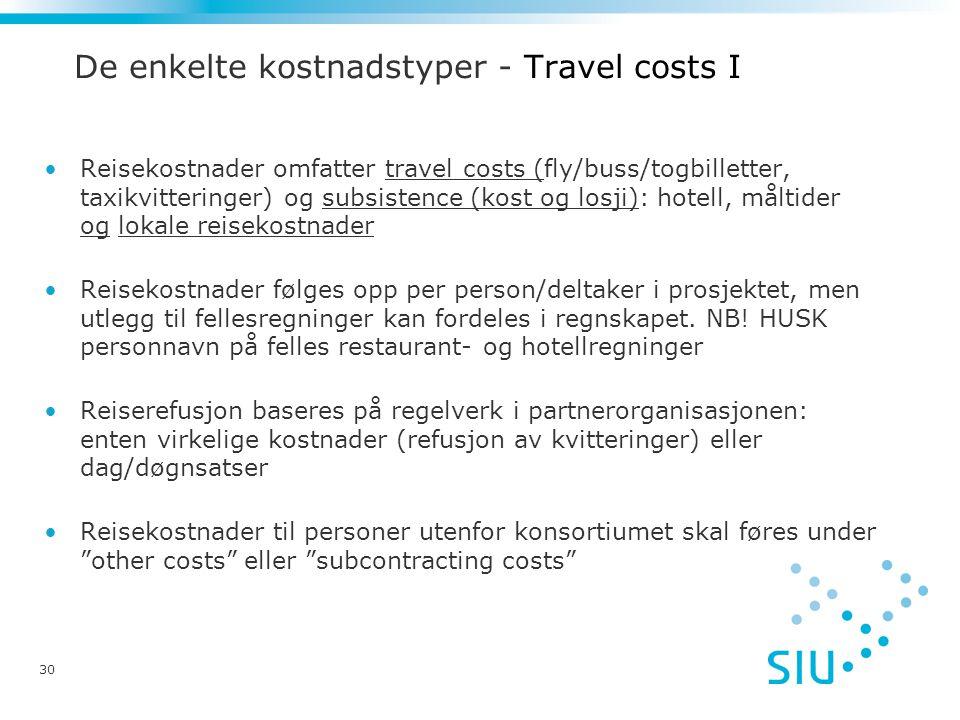 De enkelte kostnadstyper - Travel costs I