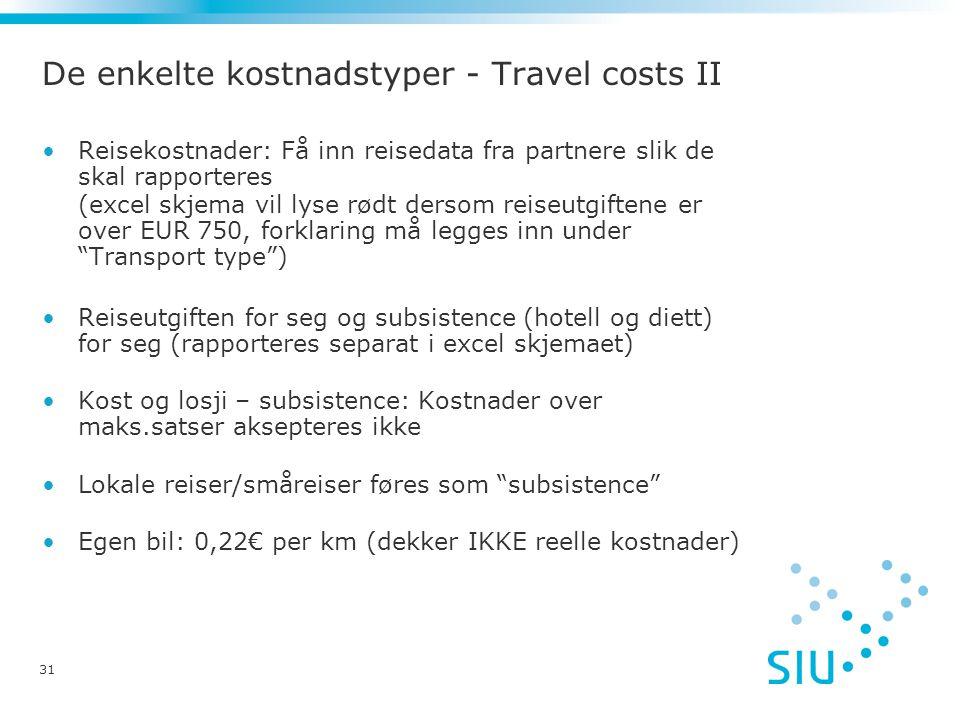 De enkelte kostnadstyper - Travel costs II