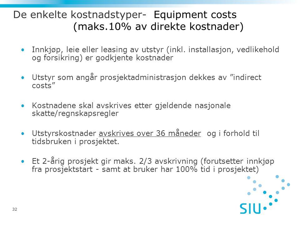 De enkelte kostnadstyper- Equipment costs. (maks