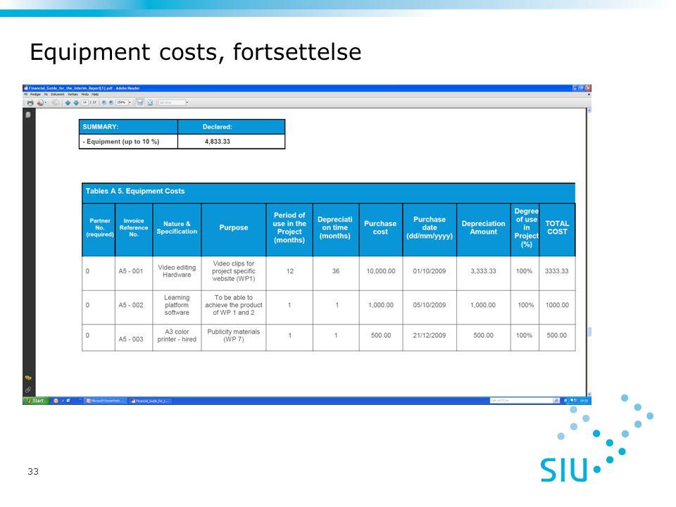 Equipment costs, fortsettelse