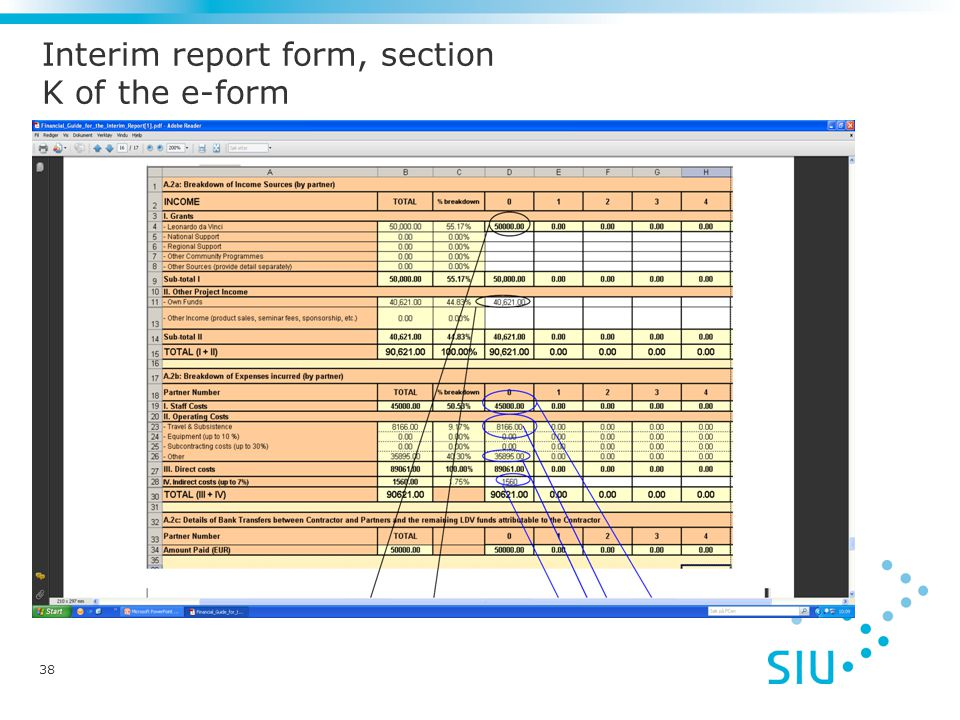 Interim report form, section K of the e-form