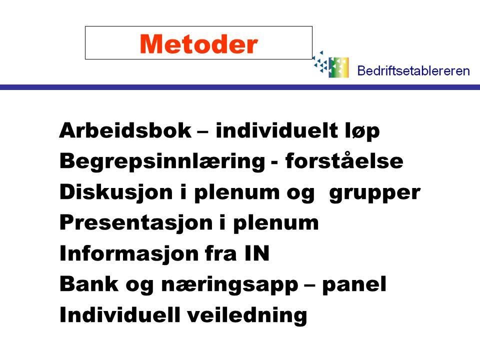 Metoder Arbeidsbok – individuelt løp Begrepsinnlæring - forståelse