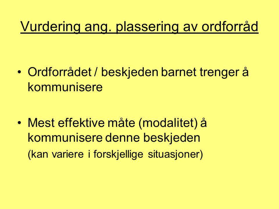 Vurdering ang. plassering av ordforråd