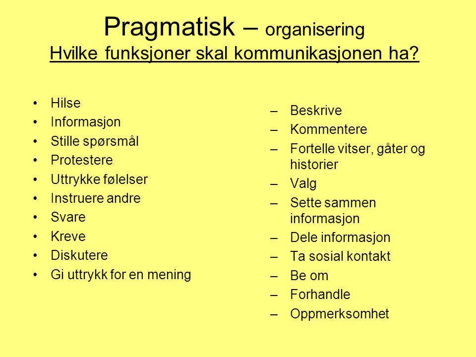Pragmatisk – organisering Hvilke funksjoner skal kommunikasjonen ha