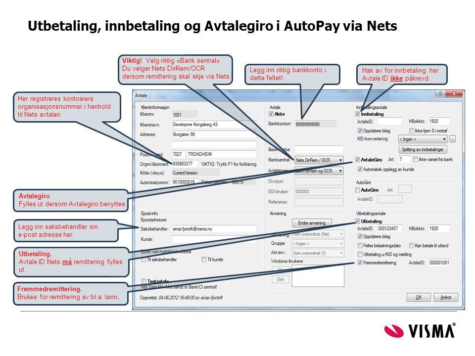 Utbetaling, innbetaling og Avtalegiro i AutoPay via Nets