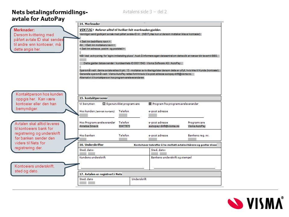 Nets betalingsformidlings- avtale for AutoPay