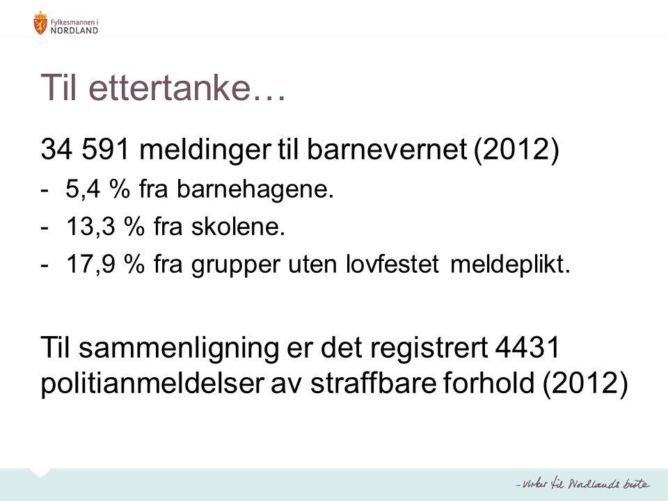 Til ettertanke… 34 591 meldinger til barnevernet (2012)
