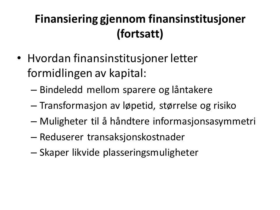 Finansiering gjennom finansinstitusjoner (fortsatt)