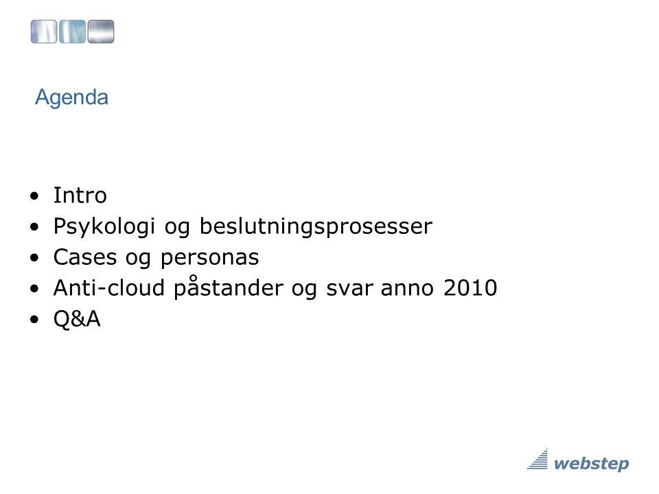 Agenda Intro. Psykologi og beslutningsprosesser. Cases og personas. Anti-cloud påstander og svar anno 2010.
