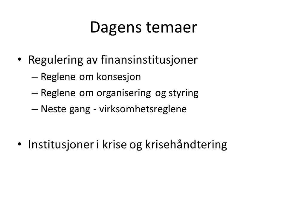 Dagens temaer Regulering av finansinstitusjoner