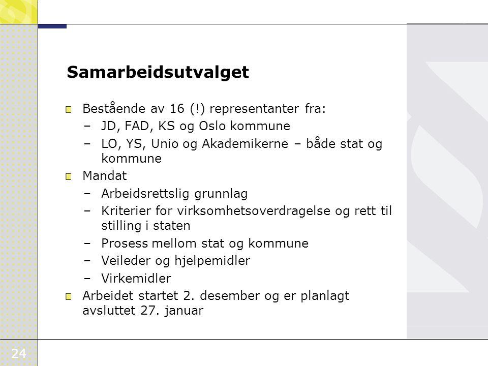 Samarbeidsutvalget Bestående av 16 (!) representanter fra: