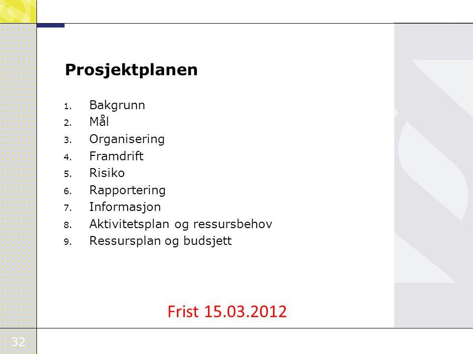 Frist 15.03.2012 Prosjektplanen Bakgrunn Mål Organisering Framdrift
