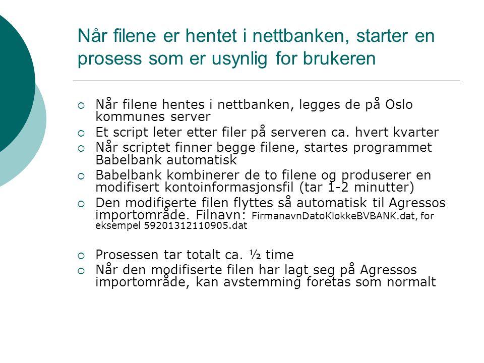 Når filene er hentet i nettbanken, starter en prosess som er usynlig for brukeren