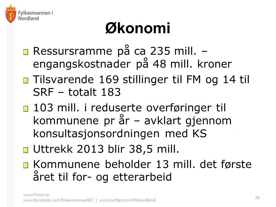 Økonomi Ressursramme på ca 235 mill. – engangskostnader på 48 mill. kroner. Tilsvarende 169 stillinger til FM og 14 til SRF – totalt 183.