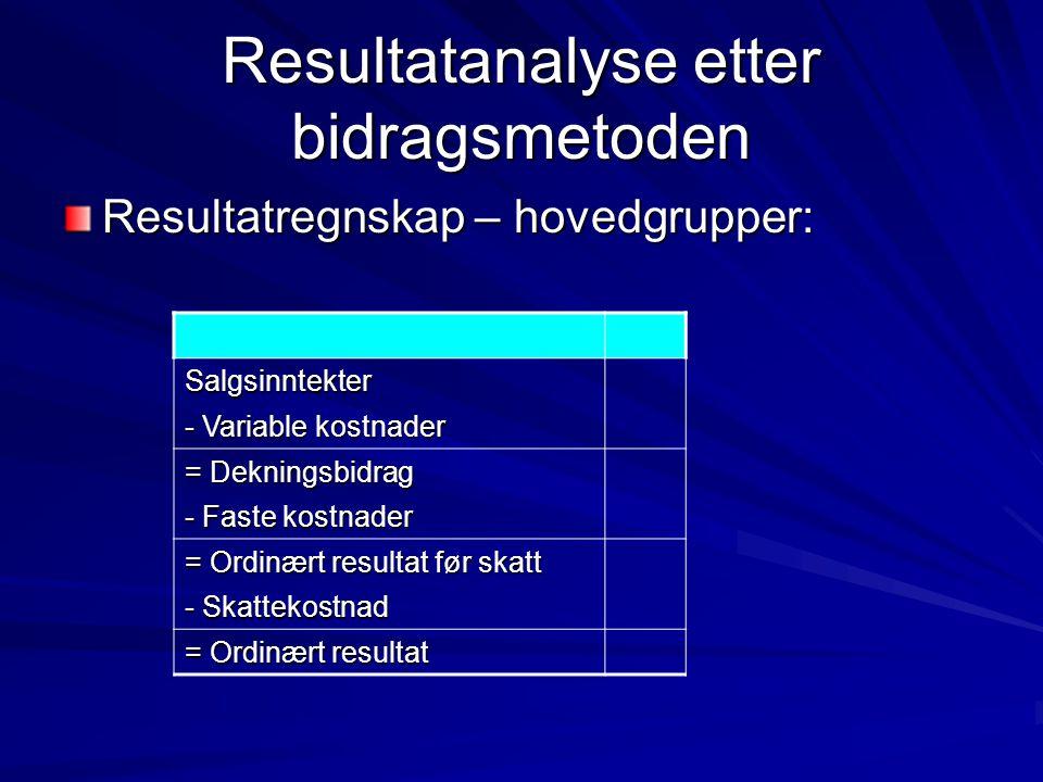 Resultatanalyse etter bidragsmetoden