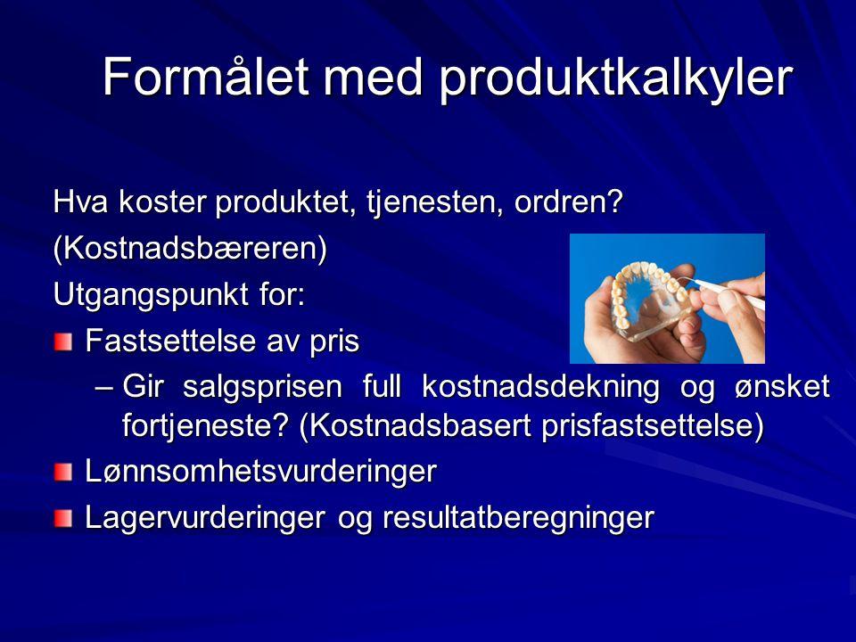 Formålet med produktkalkyler