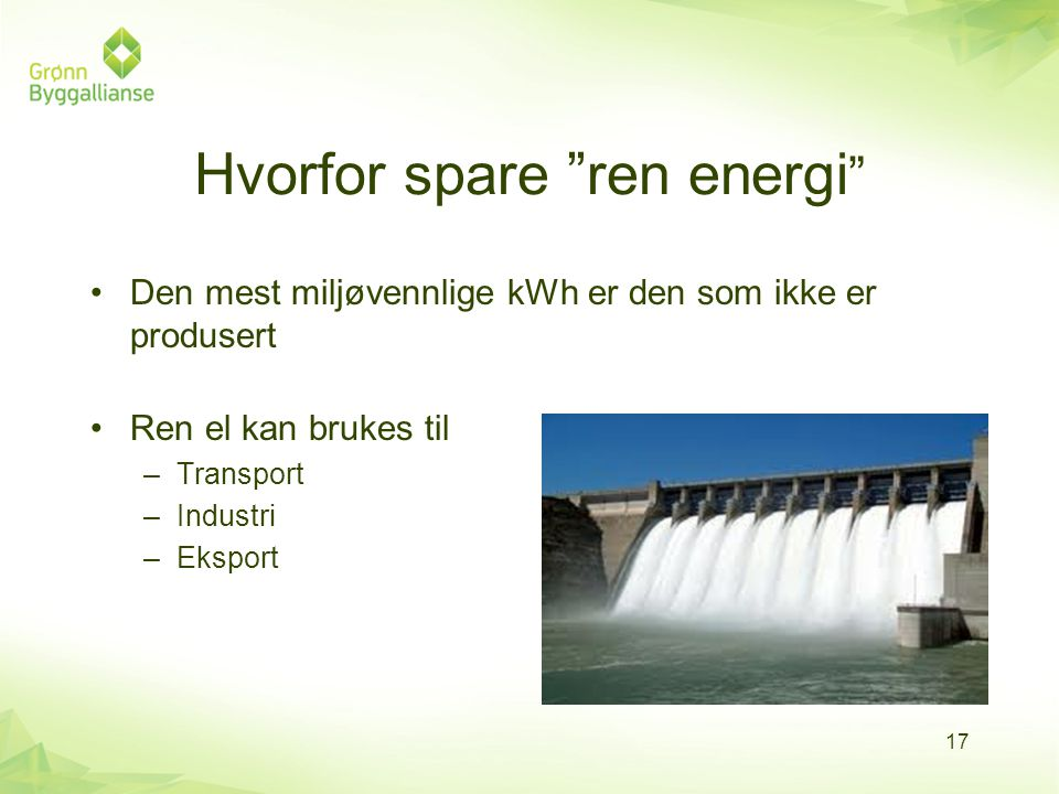 Hvorfor spare ren energi