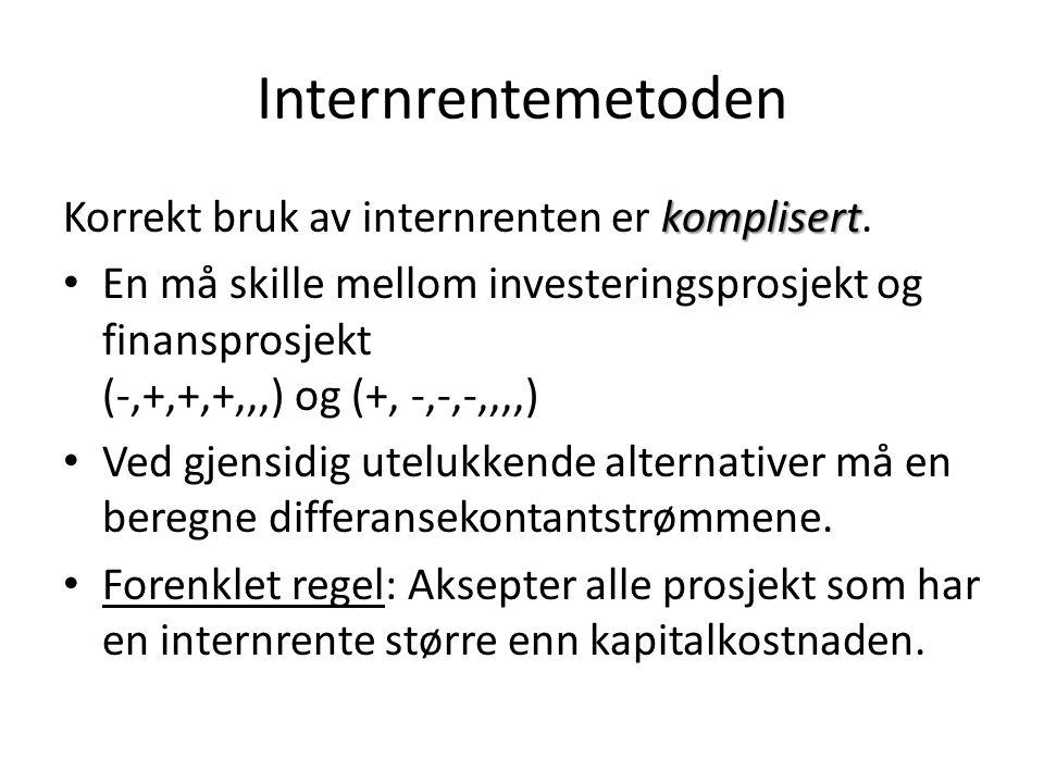 Internrentemetoden Korrekt bruk av internrenten er komplisert.