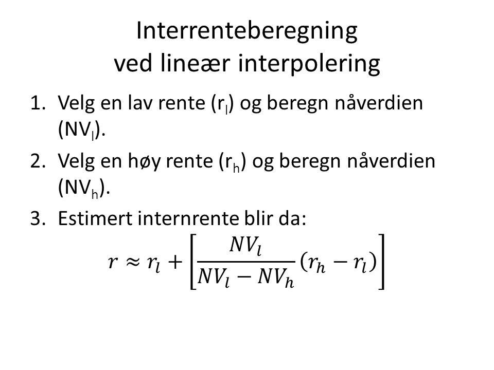 Interrenteberegning ved lineær interpolering