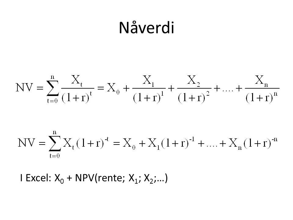 Nåverdi I Excel: X0 + NPV(rente; X1; X2;…)